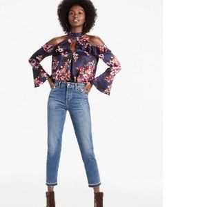 Lucky Brand Cold Shoulder Floral Top